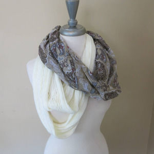 FADED GLORY *NEW* Infinity Scarves 2 Pack Solid/Paisley